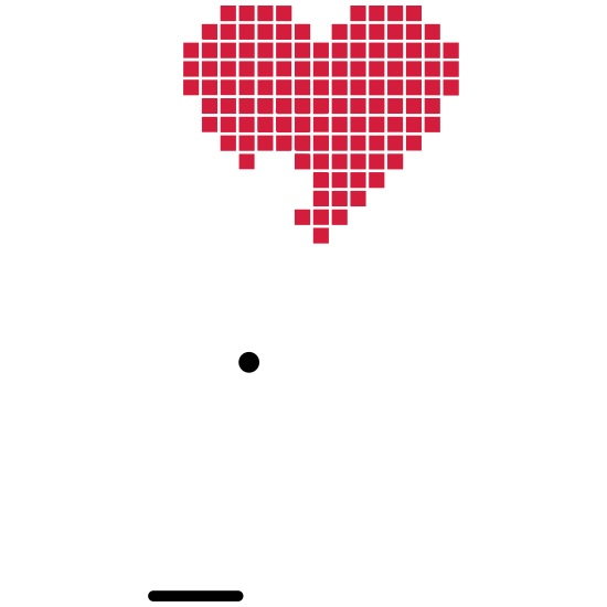 Pixel Pixelart Coeur Coeur Amour 2c Lot De 5 Petits Badges 25 Mm Blanc