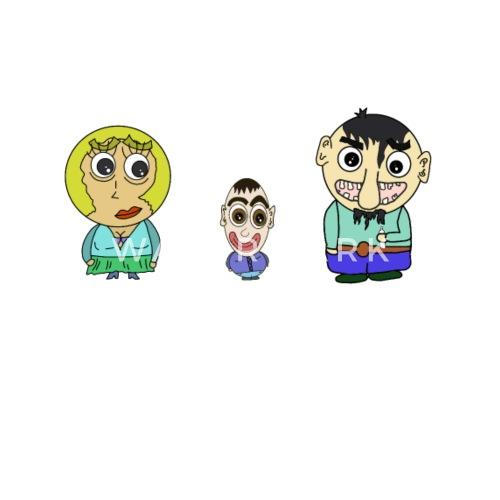 Personajes De Dibujos Animados Divertidos Familia Feliz Comicstyle