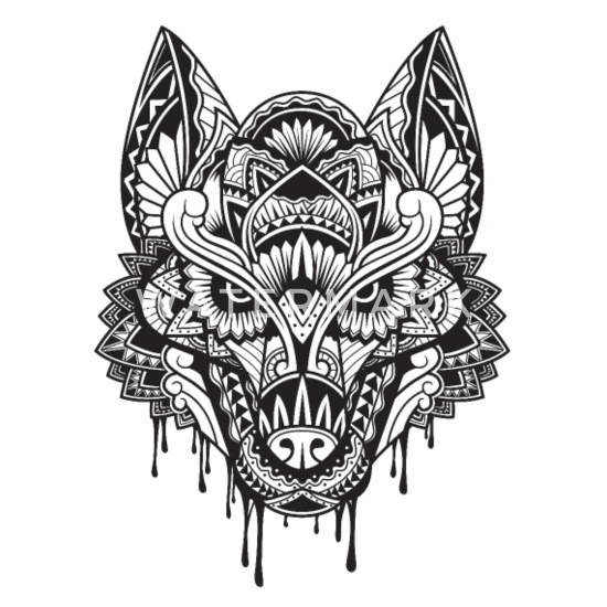 76fbc32a4c255 WOLF Mandala - Small Buttons. Front. Design