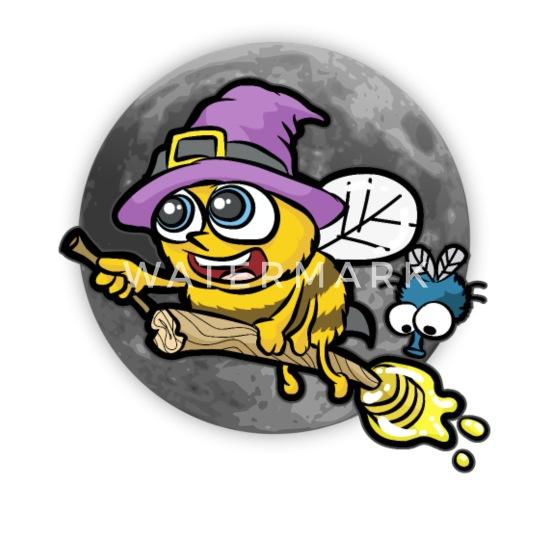 Bee Witched Biene Hexe Besen Honig Halloween Mond Buttons Klein