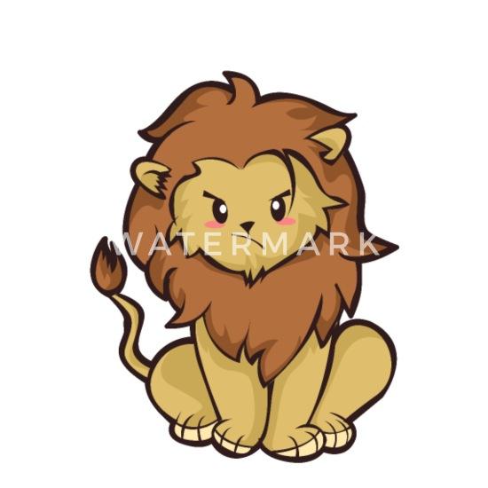 Chibi Lion Kawaii Dessin Animé Lion Chat Cadeau Mignon Lot De 5 Petits Badges 25 Mm Blanc
