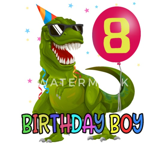 Small Buttons8 Years T Rex Dino Boys 8th Birthday Gift