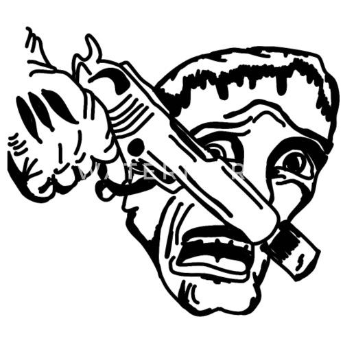 Comics Drawing Gun Weapon Killer Small Buttons
