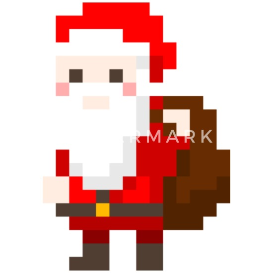 Santa Claus As Pixelart Buttons Small 125 Mm 5 Pack White