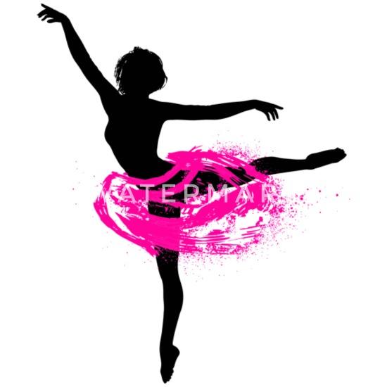 Ballerina mit Tutu Silhouette Ballet Tänzerin Buttons klein 25 mm (5er Pack) Weiß
