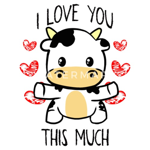 Small ButtonsI Love You This Much Cute Cow Hug Valentine's Gift