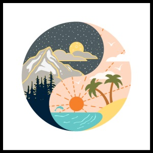Ying Yang - mountains - beach
