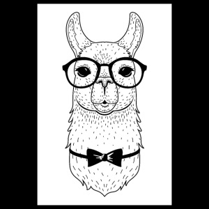 Hipster Alpaca With Glasses And Bow Tie