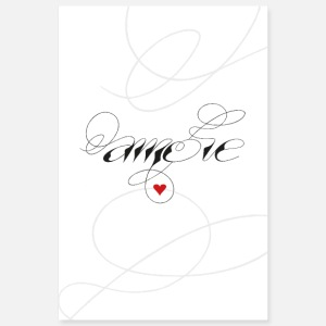 Amore, love, heart, calligraphy