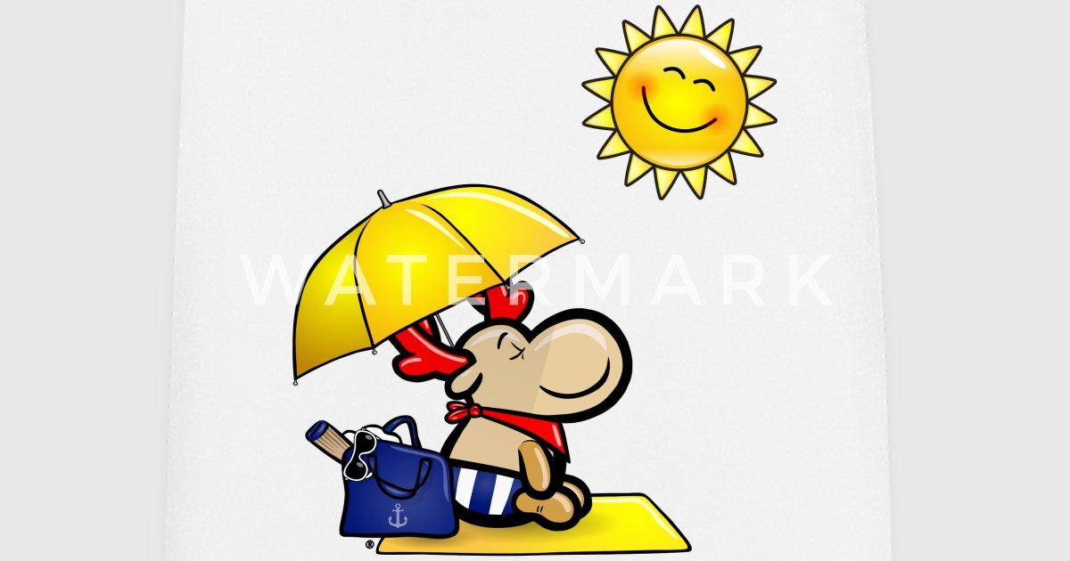 Sonnenschirm strand comic  Elch Elmondo genießt am Strand die Sonne von Elmondo | Spreadshirt