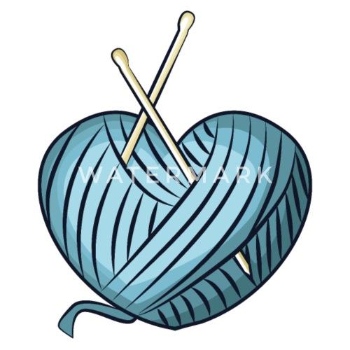 Blaues Herz Aus Wolle Stricken Häkeln Schürze Spreadshirt