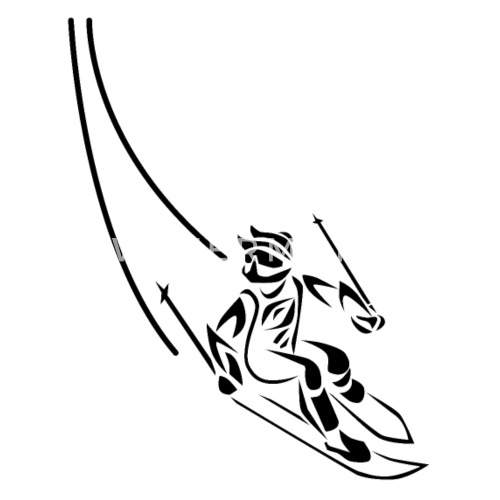 Skifahrer Spuren Clipart Schürze | Spreadshirt