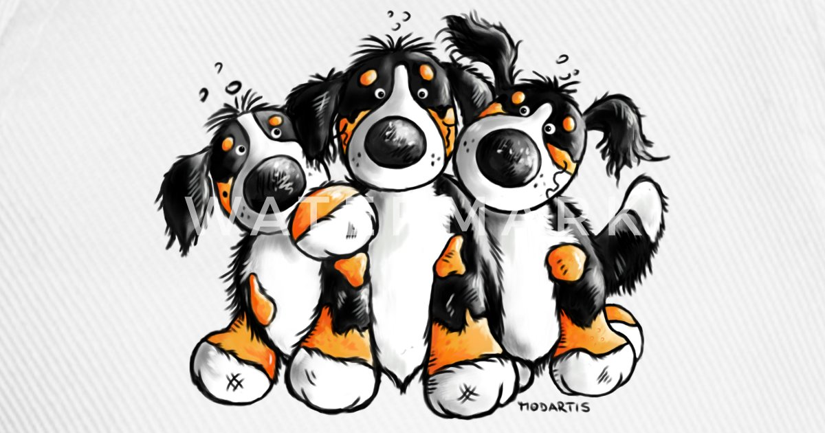 Cute Bernese Mountain Dogs Cartoon Baseball Cap Spreadshirt