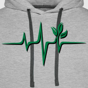 Vegan pulse, plant, frequency, heartbeat, beat, V - Men's Premium Hoodie