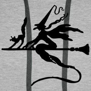 Witch with cat on broom - Men's Premium Hoodie