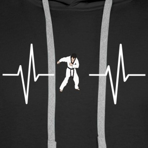 My heart beats for karate! present - Men's Premium Hoodie