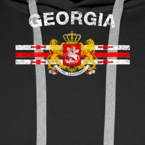 Georgian Flag Shirt - Georgian Emblem & Georgia Fl - Men's Premium Hoodie