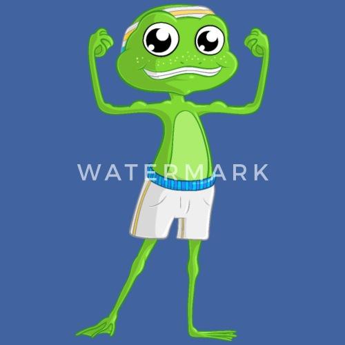 Fitness Comic Frosch Männer Premium Hoodie Spreadshirt