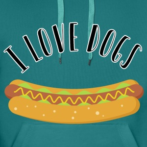 I love dogs. Hot Dogs ^^ - Männer Premium Hoodie