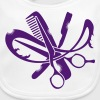 A hairdresser logo with comb, scissors and a razor - Baby Organic Bib