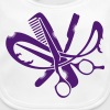A hairdresser logo with comb, scissors and a razor - Bio-slabbetje voor baby's