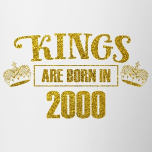 kings are born in 2000 - Geburtstag Koenig Gold - Tasse zweifarbig