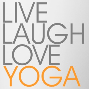 Leve Laugh Love YOGA - grå / orange - Tofarget kopp