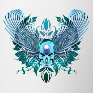 cyan Skull with wings - Contrasting Mug