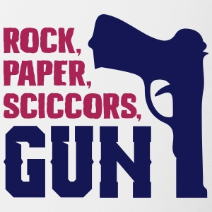 grappig rockpaperscissors gun - Mok tweekleurig