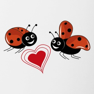 Ladybugs with red heart - Contrasting Mug