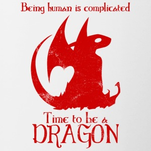 Fantasy / Dragons: Being Human Is Complicated. - Contrasting Mug