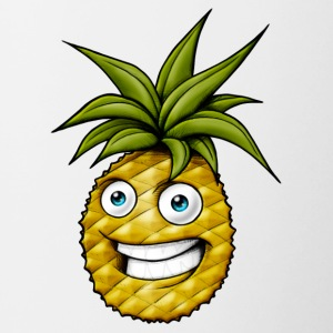 ananas heureux rire - Tasse bicolore