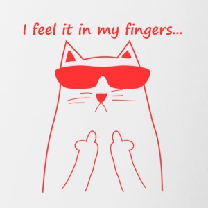 Feel it in my fingers cat fuck you cat catlady l - Contrasting Mug