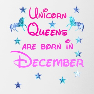 Unicorn Queens geboren december december - Mok tweekleurig