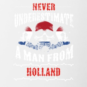 never underestimate man HOLLAND - Contrasting Mug