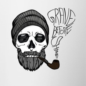 Grave before shave - beard design - 100% Bart - Tasse zweifarbig