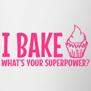 I bake whats your superpower / I bake - Contrasting Mug