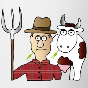 Peasant & Cow | Farmer | Cows Milking | pitchfork - Contrasting Mug