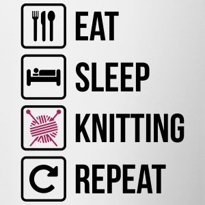 Eat Sleep Gjenta Knitting - Tofarget kopp