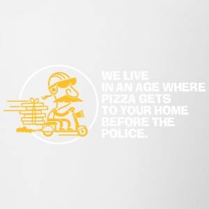 In Our Age Pizza Get's Home Before The Police. - Contrasting Mug