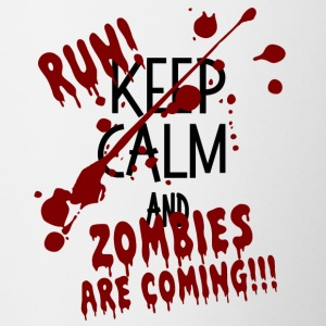 RUN ZOMBIES ARE COMING HALLOWEEN GIFT OCTOBER - Contrasting Mug