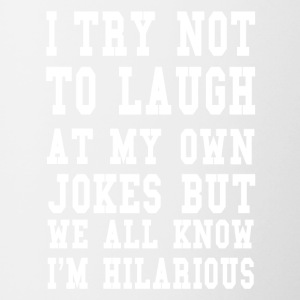 Hilarious saying ego jokes joke laugh gift - Contrasting Mug