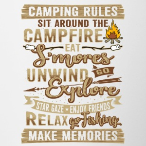 Camping tents fire rules gift - Contrasting Mug