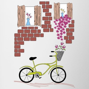 village with bicycle - Contrasting Mug