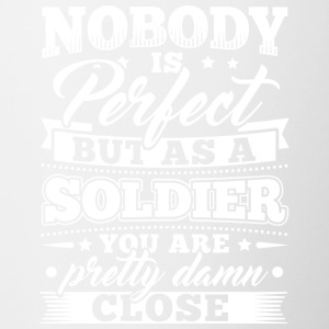 Funny Soldier Army T Shirt Nobody Perfect - Contrasting Mug