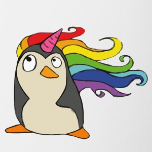 Punguin Unicorn Rainbow - Tofarvet krus