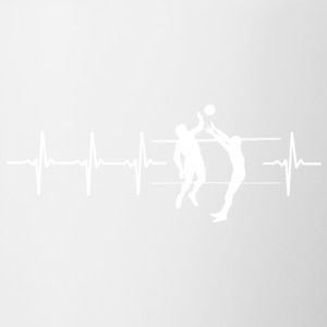 I love volleyball (volleyball heartbeat) - Contrasting Mug