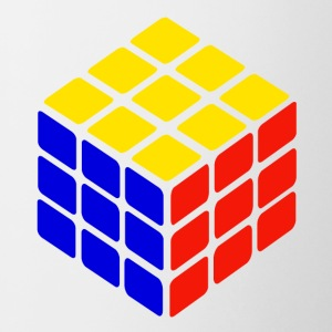 blue yellow red rubik's cube print - Contrasting Mug