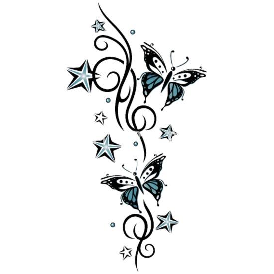 Tattoo Ranke mit Sternen und Schmetterlingen Tasse ...