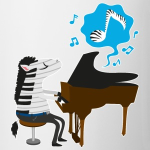 A zebra playing the piano